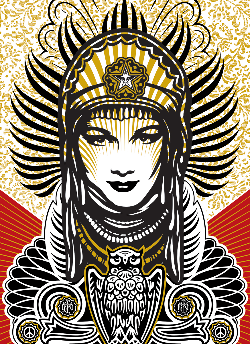 Shepard Fairey Peace Goddess Print On Wood 18 X 24