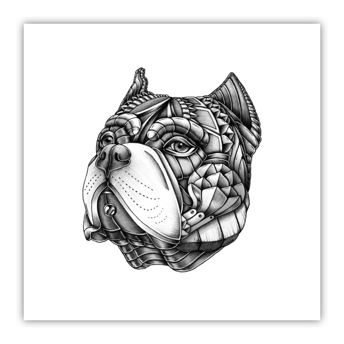Ornate American Bully Wood Print - Psydrian - Artists