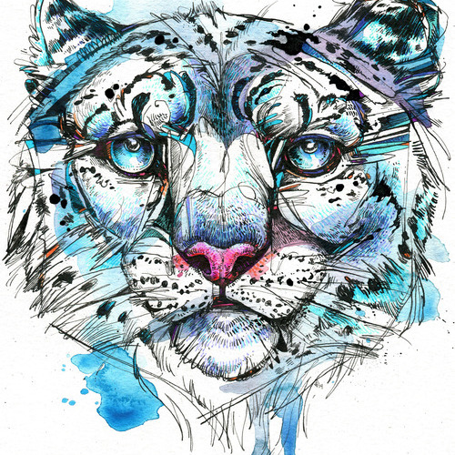 Icy Snow Leopard Wood Print Abby Diamond Shop By Artists