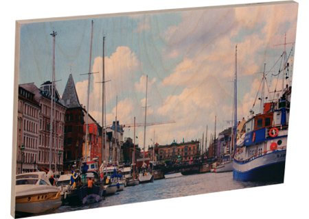 digital photos of boats printed on wood