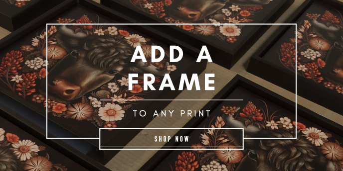framed print on wood