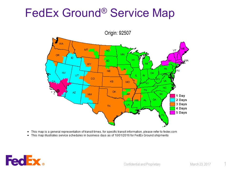 fed ex timeline map 92507