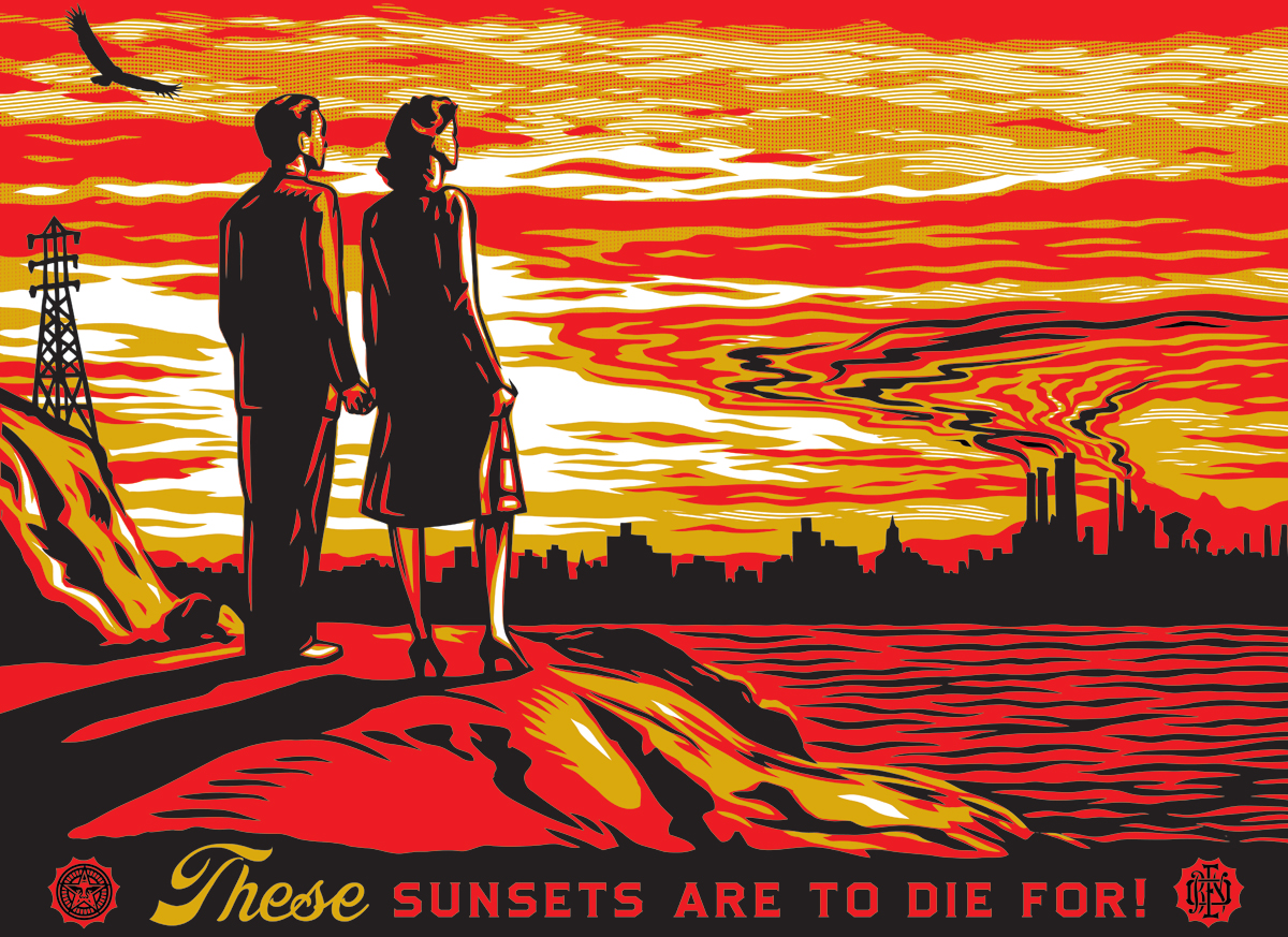 Shepard Fairey Sunsets To Die For Print On Wood 18 X 24