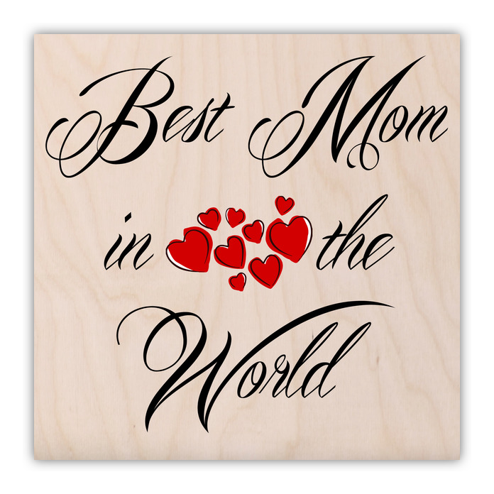 Best Mom in the World Hearts 1 Wood Print - Shop By Artists